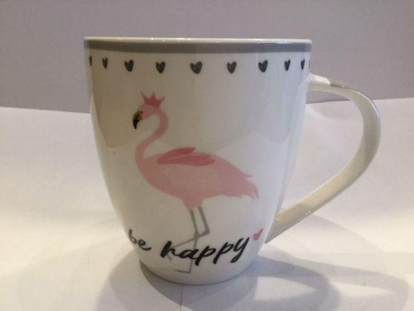 Porzellan Becher (be happy Flamingo)