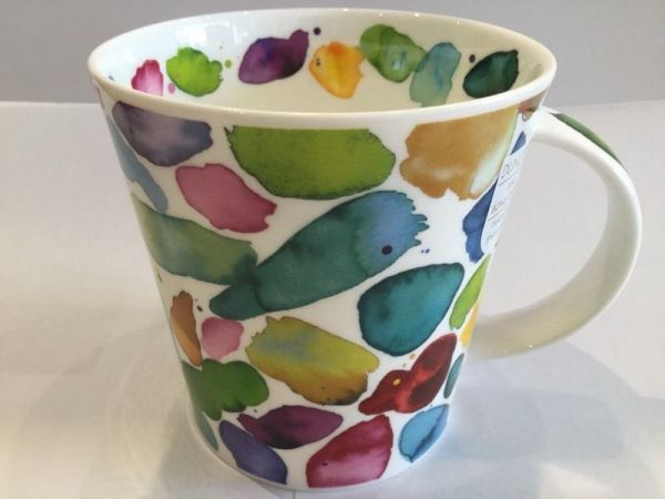 Porzellan Tassen (bunte Pinselstriche)