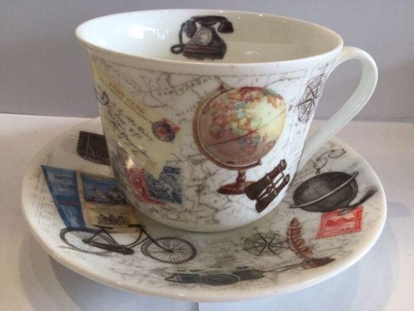 Jumbo Porzellan Tasse mit Untertasse (Entdeckungen)