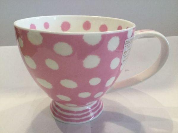 Porzellan Tasse Modell Syke (rosa weiß bepunktet)