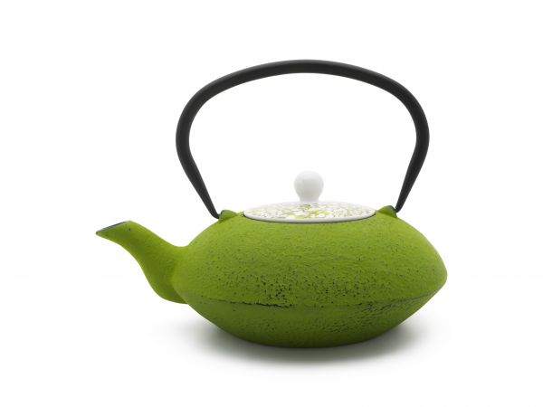 Teekanne Yantai 1,2L, grün & Untersetzer jang ,schwarz Gusseisen