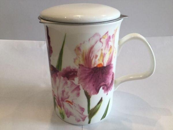 Porzellan Becher mit Edelstahl Filter und Porzellan Deckel (rosa Blumen)