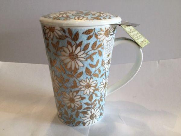Tasse mit Edelstahlfilter und Porzellan Deckel (AQUA)