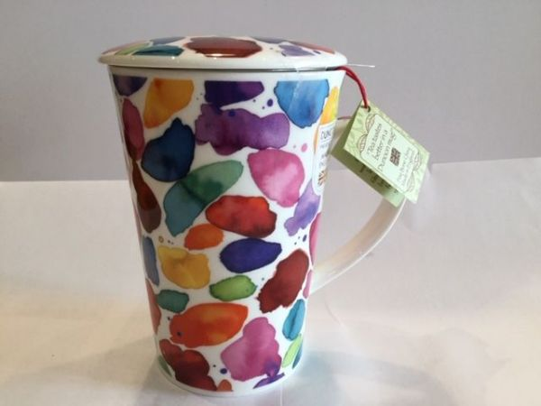 Tasse mit Edelstahlfilter und Porzellan Deckel (bunte Farbflecken)