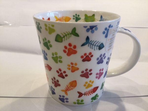 Porzellan Becher (bunte Katzentatzen und Hundetatzen)