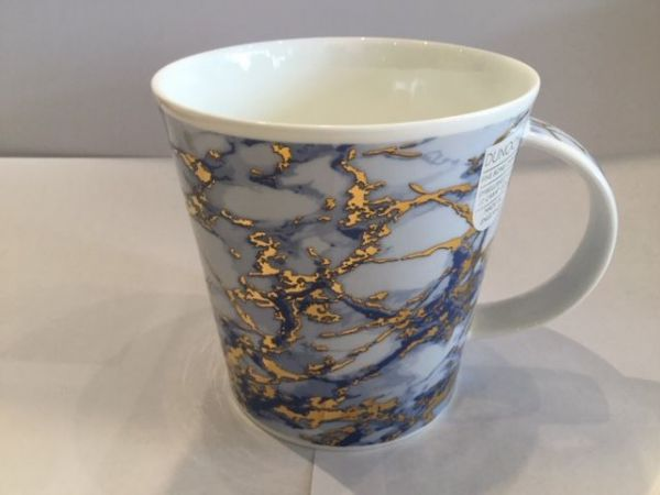 Porzellan Tassen (Marmor Gold blau)