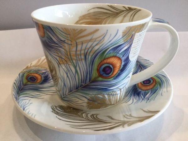 Porzellan Tasse mit Untertasse Modell Shakila (Pfauenfeder)